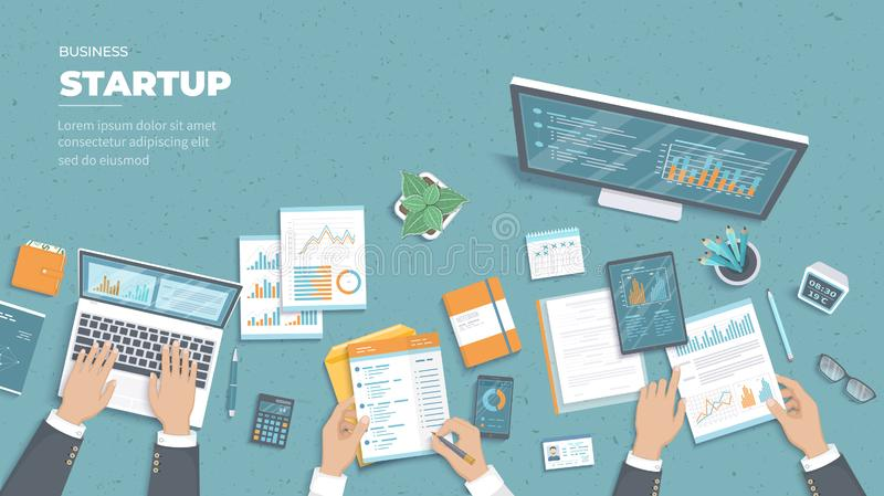 Businessman team discuss project startup, investment, financial planning, agreement, analysis data, realization, success. vector illustration