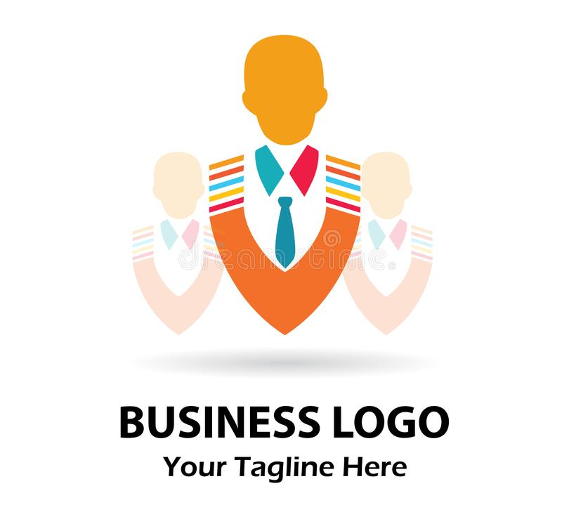 Businessman, team, top rank portrait logo, male icon vector illustration