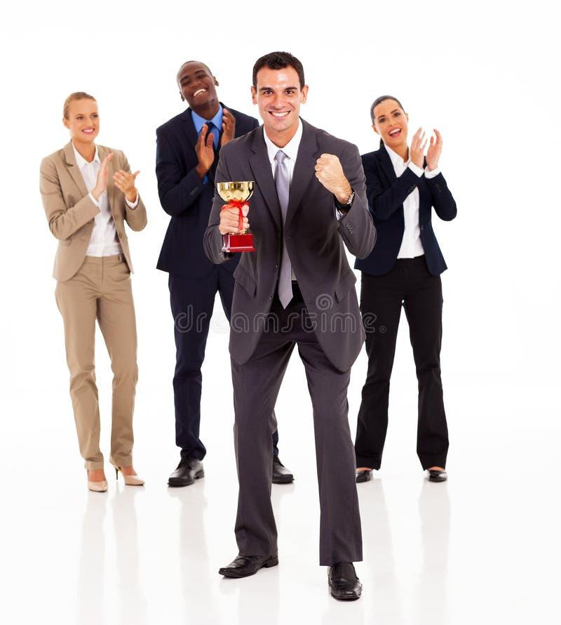 Businessman team winning royalty free stock photo