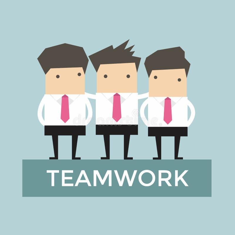 Businessman teamwork stand on podium stock illustration
