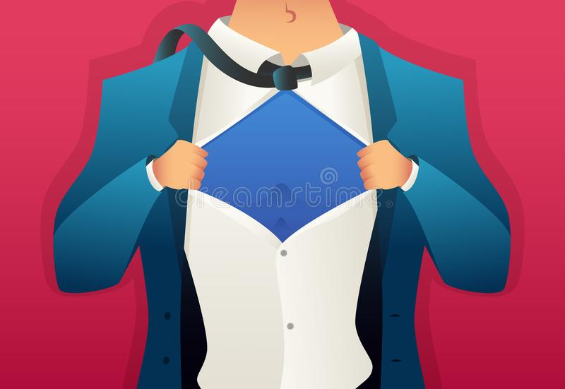 Businessman tears his shirt. Place for text on the chest. Cartoon style stock illustration
