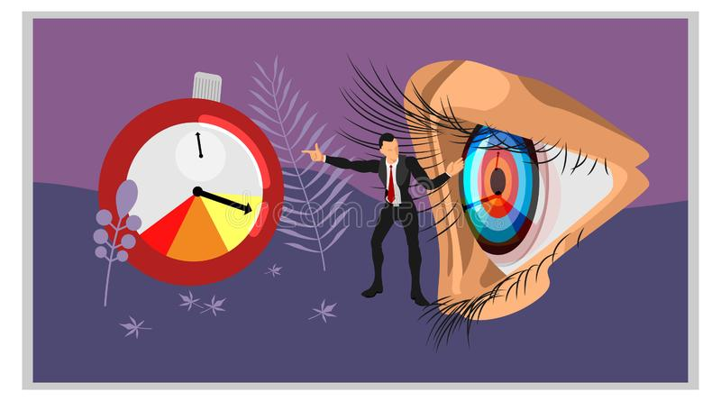 A businessman tells the focus of the eye to the time marker. vector concepts focus on time. Eps10 vector file royalty free illustration