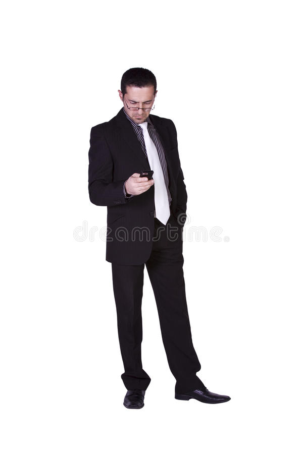 Download Businessman Texting On His Cell Phone Stock Photo - Image of palm, objects: 12659522