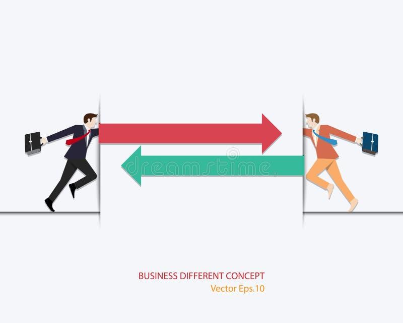 Businessman think different. Businessman choosing right way, Arrow, Positive and negative, Concept business, Career, Vector illustration flat, idea, success stock illustration
