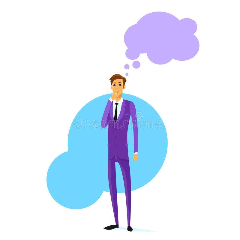 Businessman Think Hold Hand on Chin Cloud Head. Business Man Flat Vector Illustration vector illustration