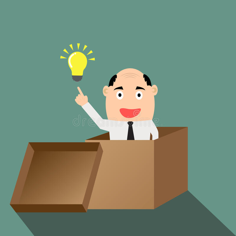 Businessman think outside the box with idea. vector illustration