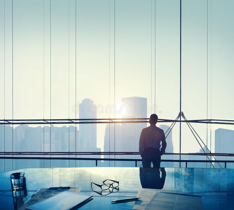 Businessman Thinking Aspirations Goals Contemplating Concept.  royalty free stock images