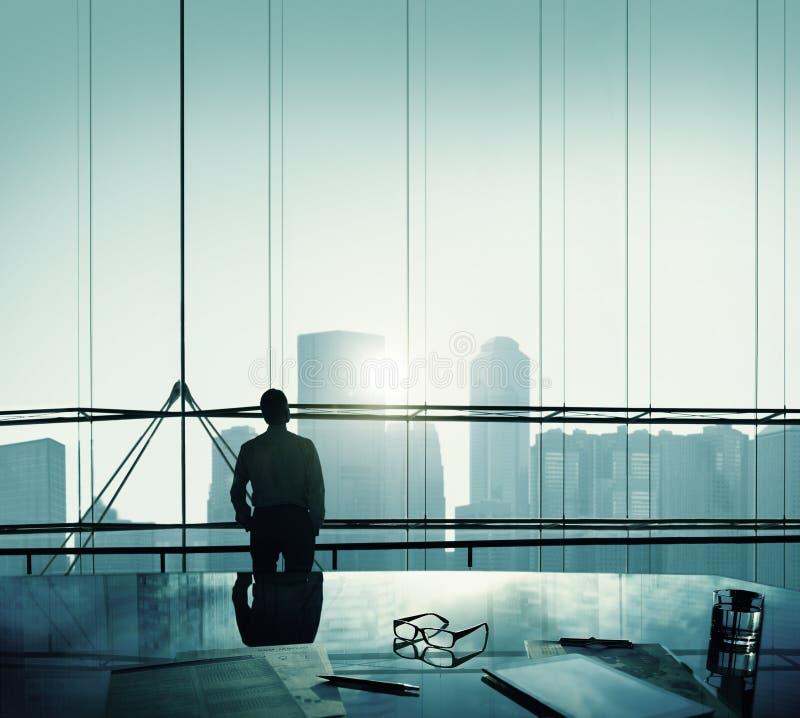 Businessman Thinking Aspirations Goals Contemplating Concept stock image