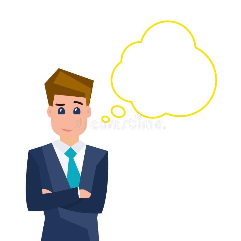 Businessman is thinking. vector illustration