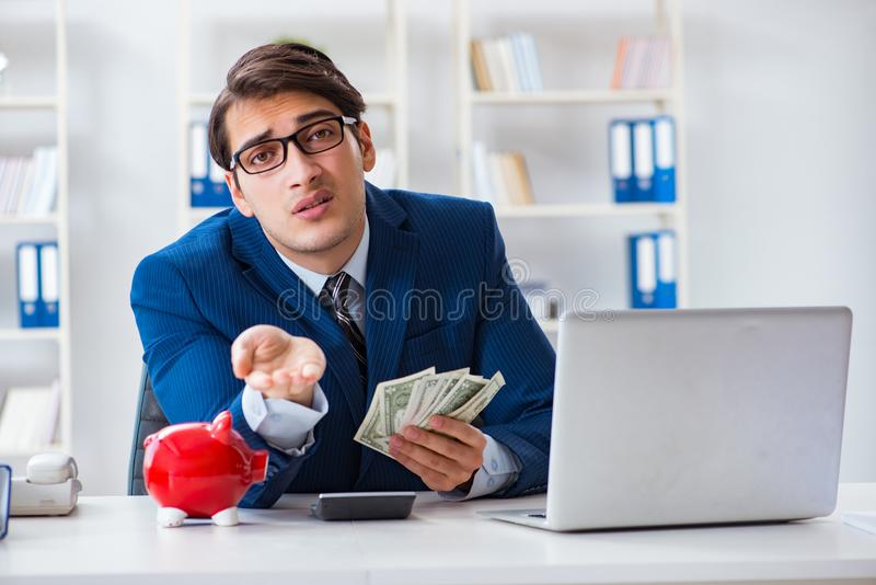 The businessman thinking about his savings during crisis. Businessman thinking about his savings during crisis royalty free stock photos