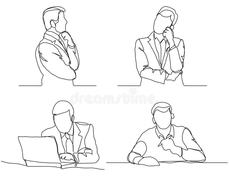 Businessman thinking linear design, continuous line, Thoughtful man with laptop outline. vector illustration
