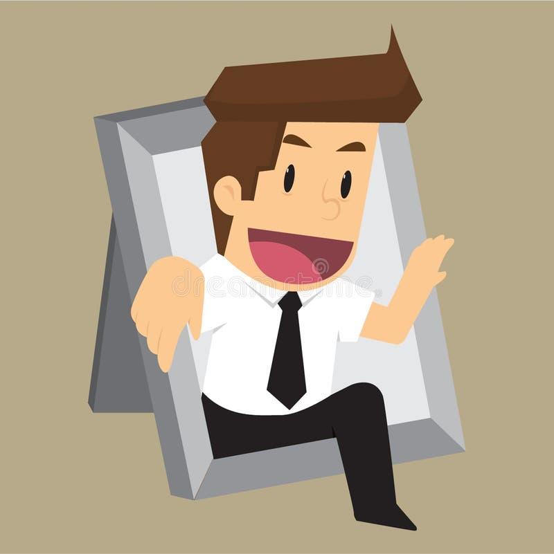 Businessman Thinking outside the frame.  royalty free illustration