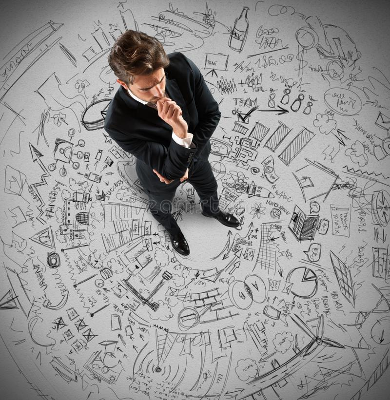 Businessman thinking projects royalty free stock photos