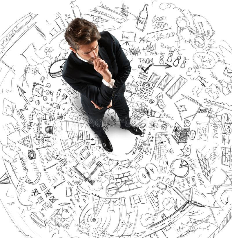 Businessman thinking projects stock image