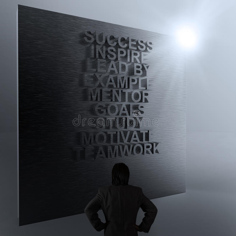 Businessman thinking of success business diagram on metal wall royalty free stock image