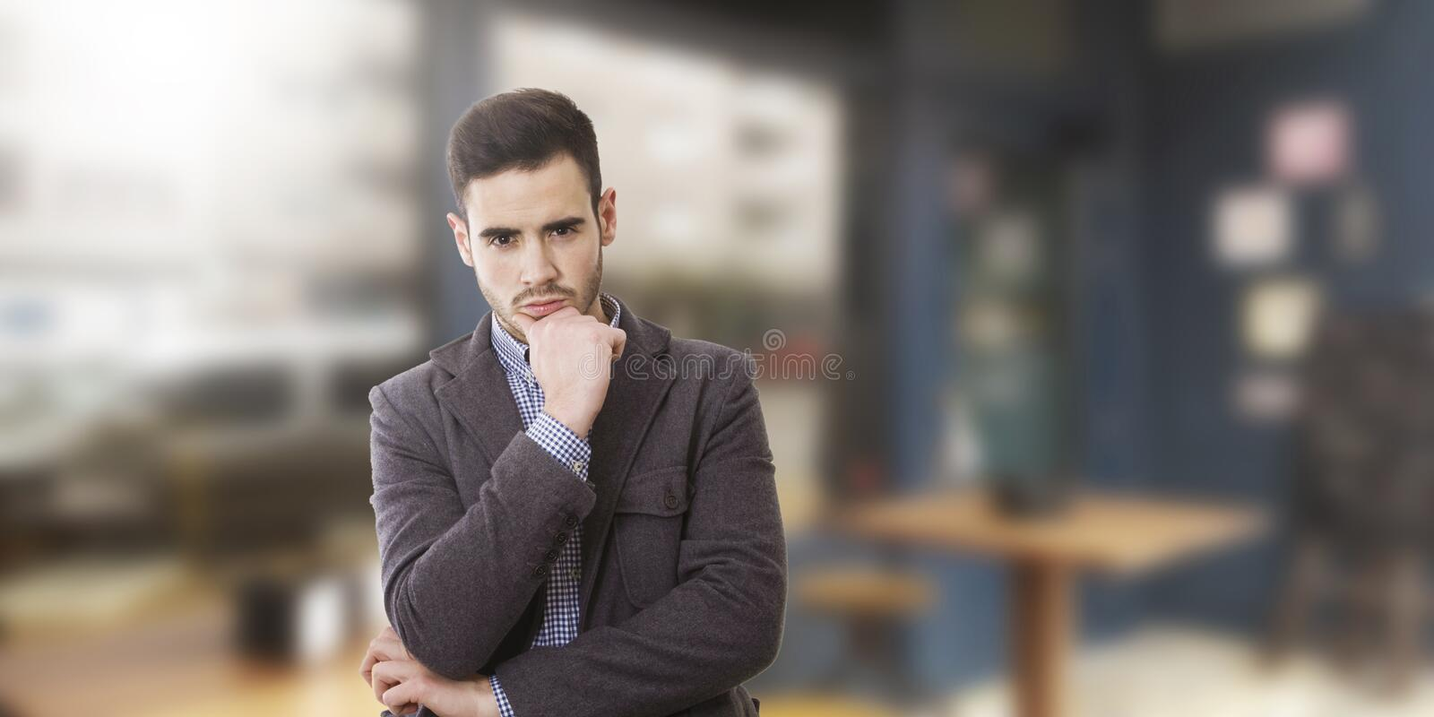 Businessman with thoughtful royalty free stock image