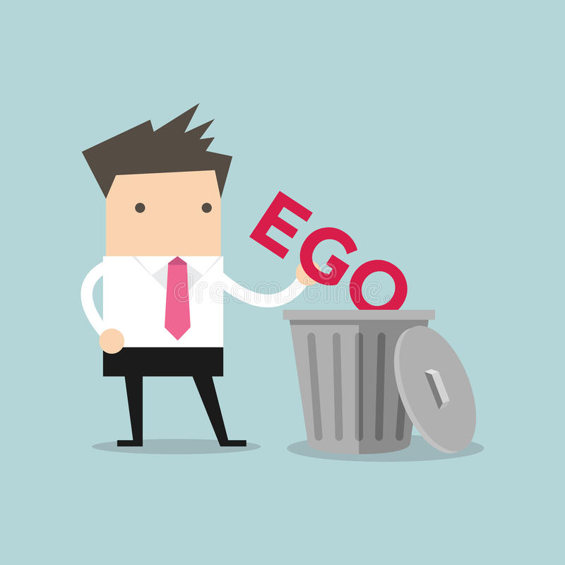 Businessman throw his ego into the trash stock illustration