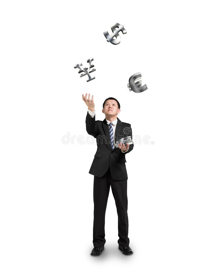 Free Businessman Throwing And Catching Sliver Money Symbols Royalty Free Stock Photography - 37652707