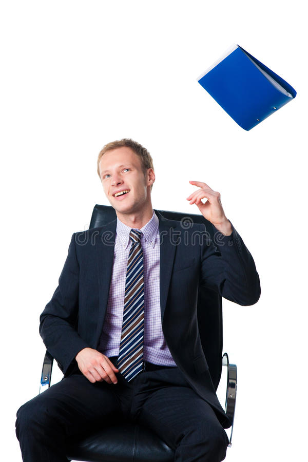 Download Businessman Throwing Away Folder With Documents Stock Image - Image: 16140869