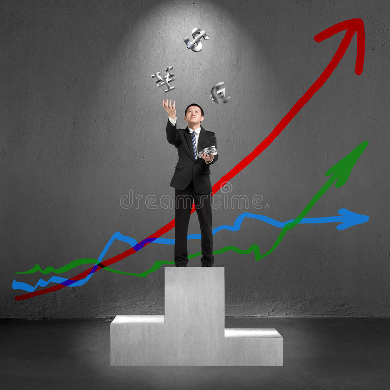 Businessman throwing and catching 3D sliver money symbols on pod stock illustration