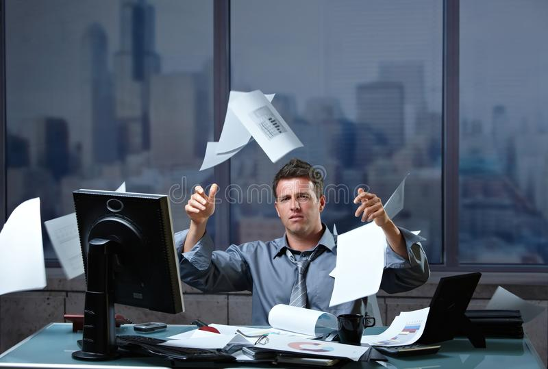 Download Businessman Throwing Documents Into Air Stock Image - Image: 13242287