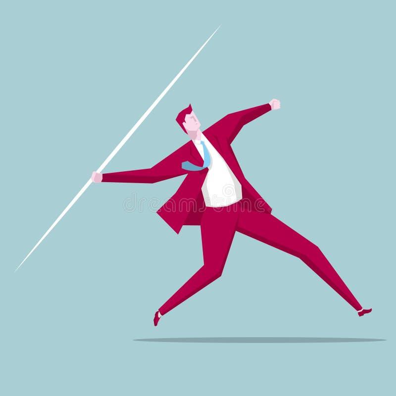 Businessman throwing a javelin. royalty free illustration