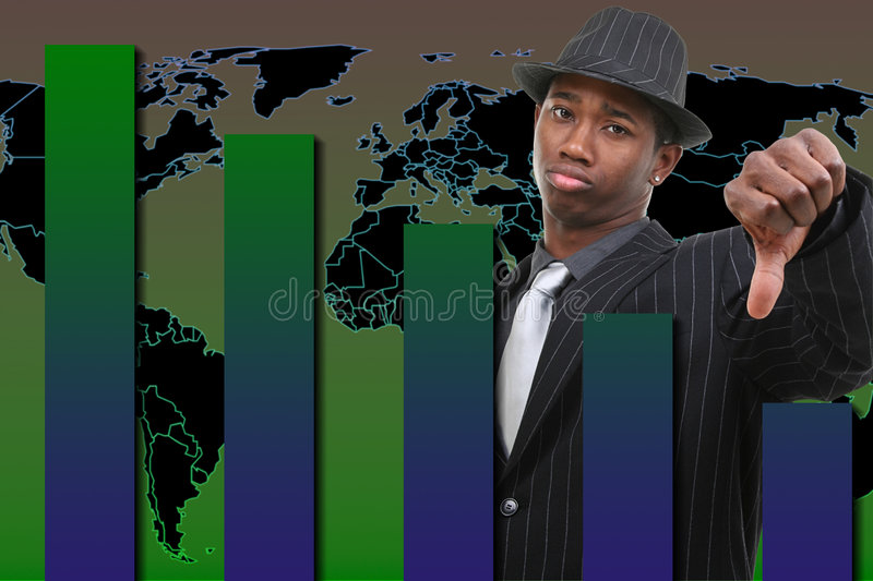 Businessman With Thumb Down Over Falling Graph Background royalty free illustration