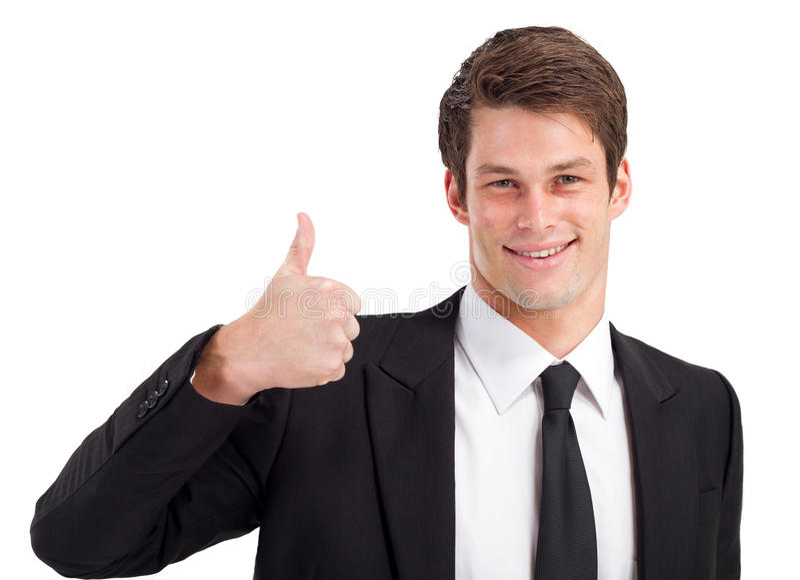 Businessman thumb up royalty free stock photo