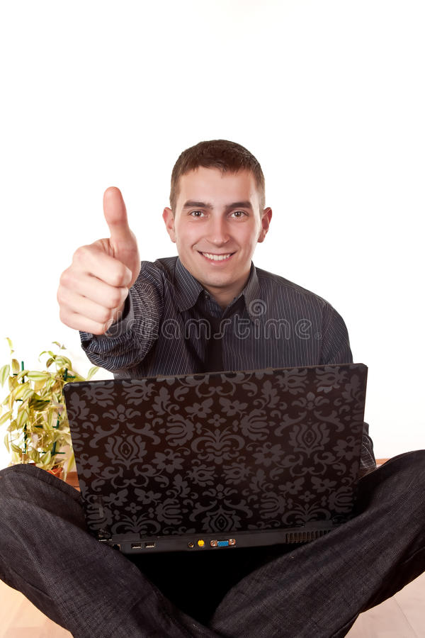 Businessman with a thumb up royalty free stock photos