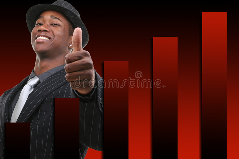 Businessman With Thumb Up Over Rising Graph Background stock photos