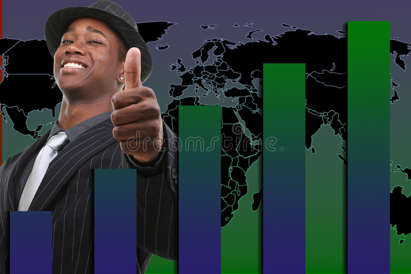 Businessman With Thumb Up Over Rising Graph Background vector illustration