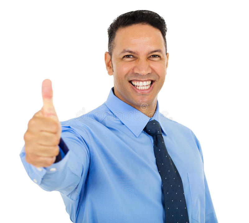 Businessman thumb up. Portrait of successful businessman thumb up stock images