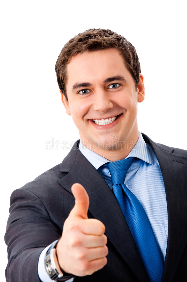 Businessman with thumbs up gesture royalty free stock photo