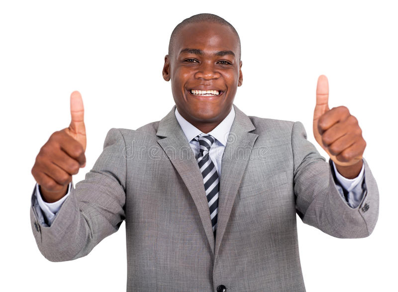 Businessman thumbs up stock photography