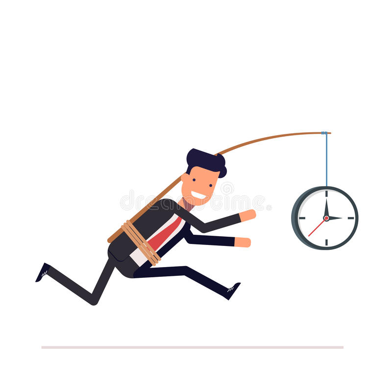 Businessman or tied clock manager runs the time. vector illustration