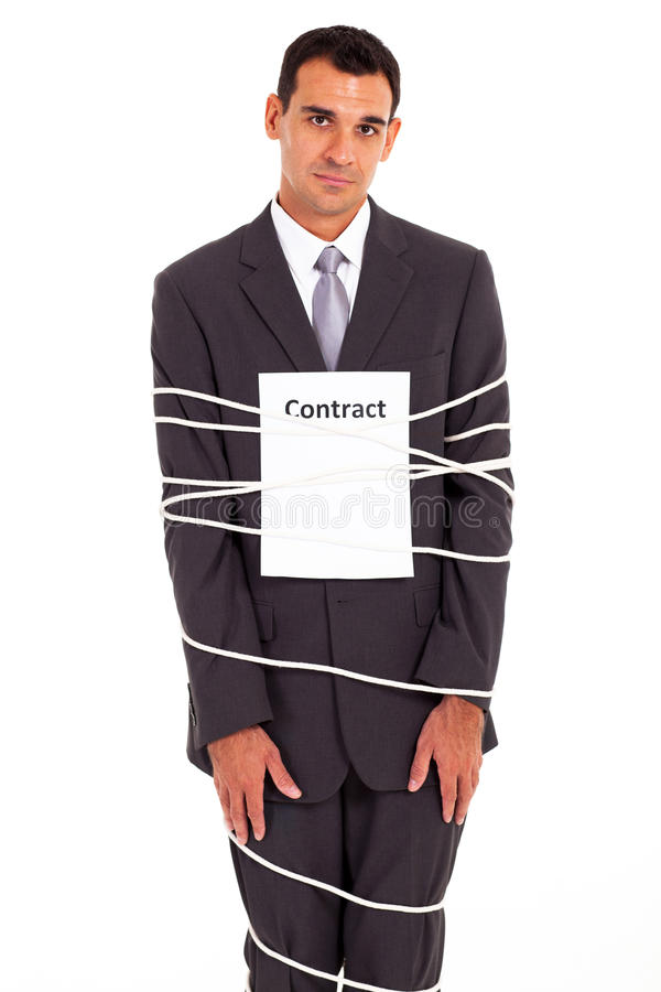 Businessman tied contract. Sad businessman tied with contract isolated on white stock photo