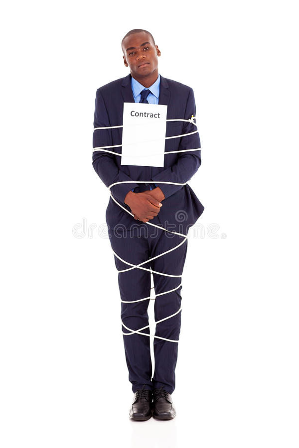 Businessman tied contract. African american businessman tied with contract isolated on white royalty free stock photos