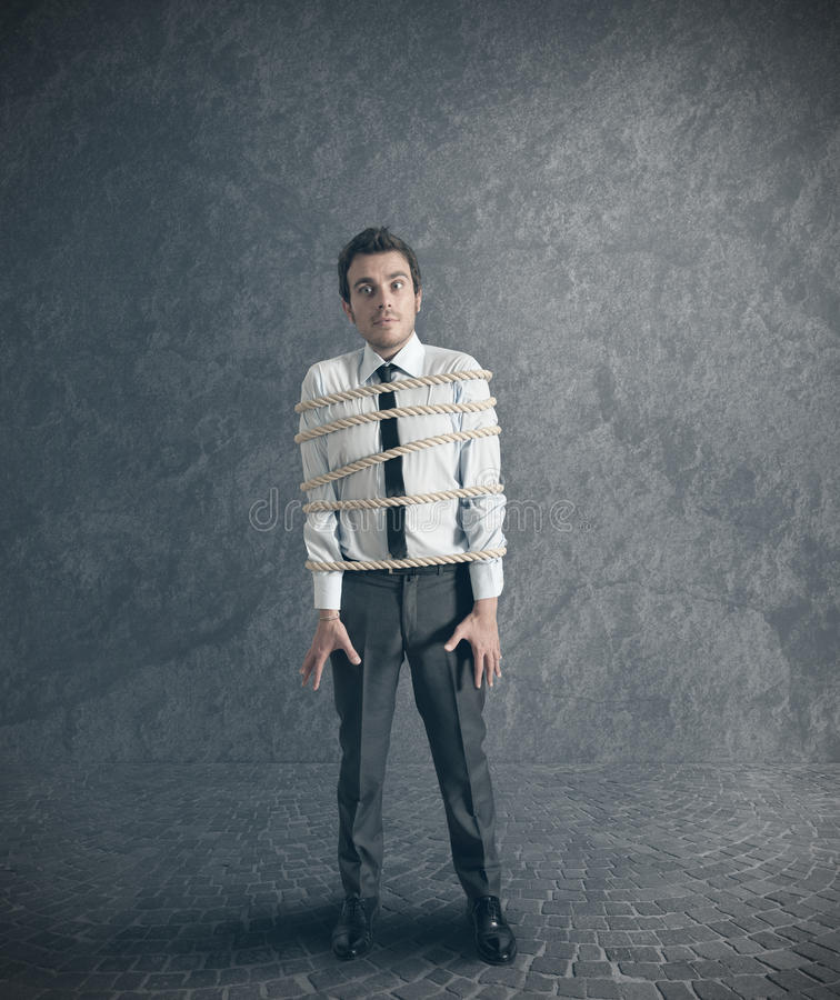 Download Businessman tied with rope stock image. Image of caucasian - 26759929