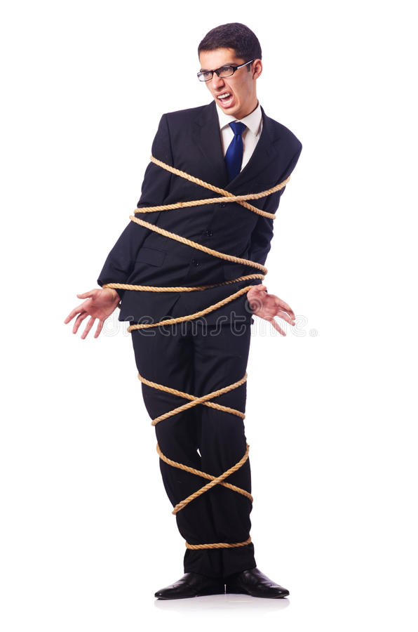 Download Businessman Tied Up With Rope Stock Photo - Image: 28135514