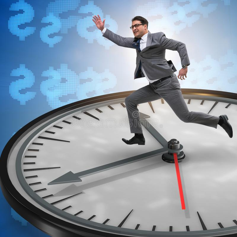 Businessman in time management concept. The businessman in time management concept royalty free stock image