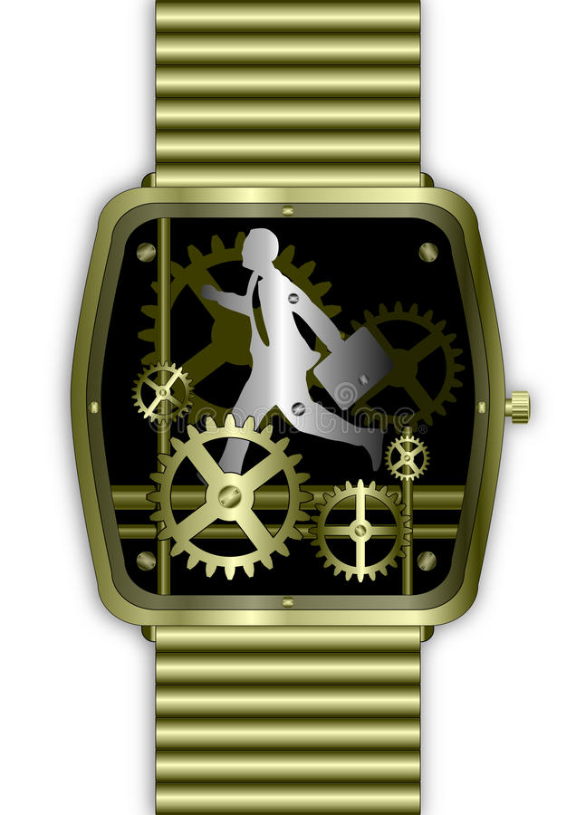 Businessman On Time Running In Gold Watch Stock Photos
