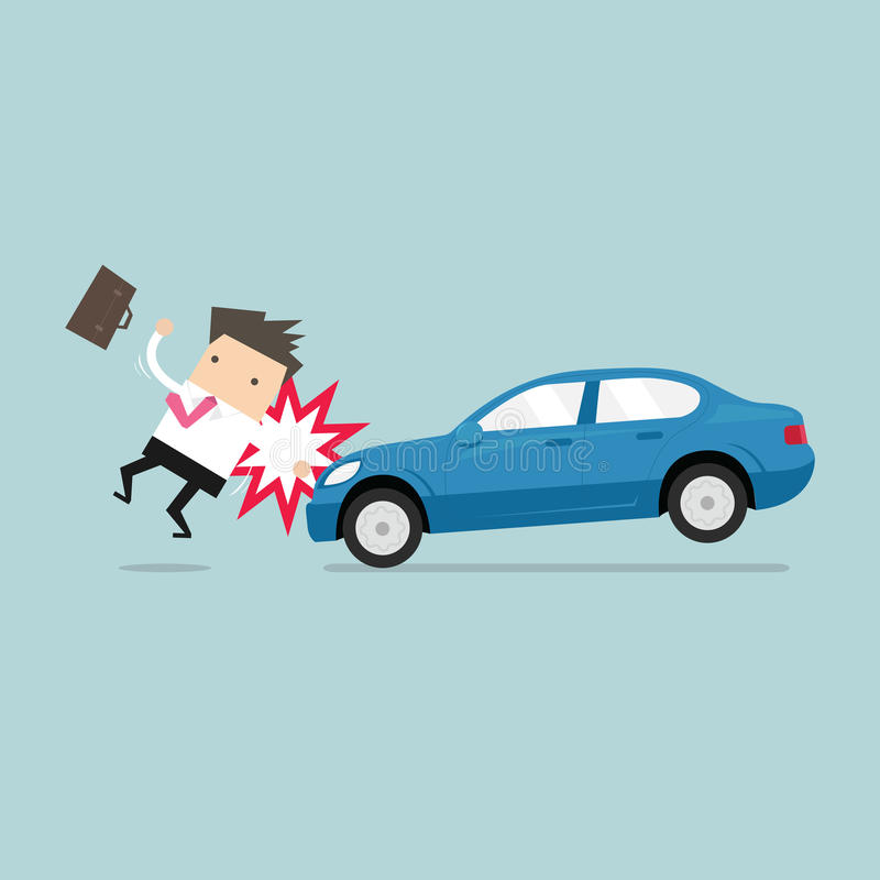 Businessman about to be hit by a car, Road Safety. royalty free illustration