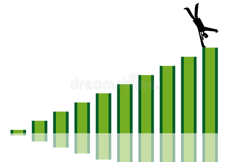 Businessman on top of the chart vector illustration