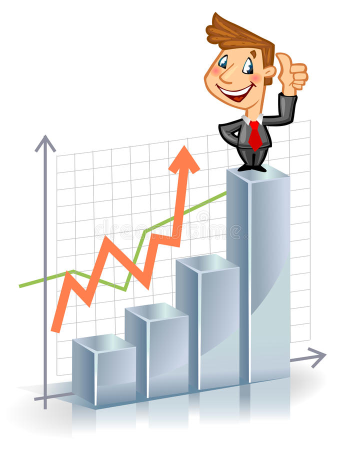 Businessman on the top of chart stock illustration