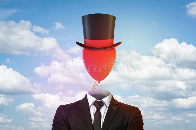 Businessman with top hat and red balloon instead of head on blue sky and white clouds background. Management and society. Digital art. People and objects royalty free stock image