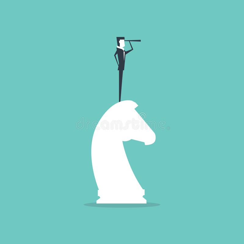 Businessman on top of horse chess piece using telescope looking for success. Successful business strategy concept. stock illustration