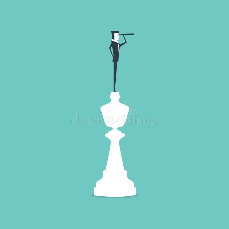 Businessman on top of king chess piece using telescope looking for success. Business strategy concept. royalty free illustration