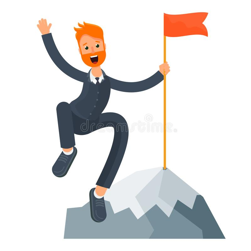 Businessman on the top of a mountain vector illustration