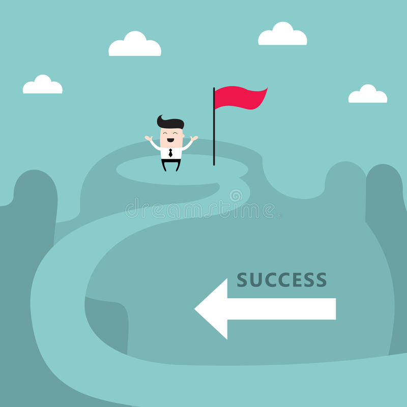 Businessman on top of the mountain Success goal achievement business concept. Businessman on the top of the mountain Success goal achievement business concept vector illustration