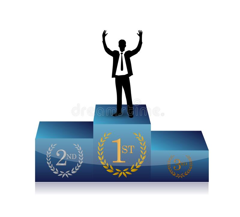 businessman in top of a podium royalty free stock photos